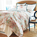 "Peacock Alley - Peacock Alley Eloise Duvet Cover - Peacock Alley's luxurious collection of bedding and bath accessories captures the essence of classic style. Expressing whimsical sophistication, the Eloise duvet cover delights on a bedroom with an Impressionist-inspired aesthetic. In elegant pink, red, blue, green and white, this stunning cover showcases a delightful watercolor floral print. Made from 100% Egyptian cotton. Machine washable. Insert not included. Available in several sizes. Twin: 68""W x 90""H. Queen: 90""W x 90""H. King: 105""W x 90""H."
