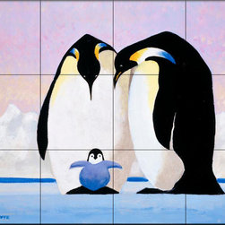 The Tile Mural Store (USA) - Tile Mural - Emperor Penguins Ii - Kitchen Backsplash Ideas - This beautiful artwork by Toni Goffe has been digitally reproduced for tiles and depicts a Penguin and baby.  Images of waterfowl on tiles are great to use as a part of your kitchen backsplash tile project or your tub and shower surround bathroom tile project. Pictures of egrets on tile, images of herons on tile and decorative tiles with ducks and geese make a great kitchen backsplash idea and are excellent to use in the bathroom too for your shower tile project. Consider a tile mural of water fowl for any room in your home where you want to add interesting wall tile.