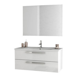 ACF - 38 Inch Glossy White Bathroom Vanity Set - Set Includes: Vanity Cabinet (2 Drawers), high-end fitted ceramic sink, wall mounted vanity mirror. Vanity Set Features: Vanity cabinet made of engineered wood. Cabinet features waterproof panels. Vanity cabinet in glossy white finish. Cabinet features 2