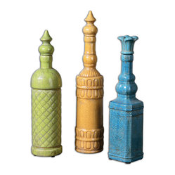 Uttermost - Jonte Decorative Bottles, Set of 3 - Crackled glaze and a festive color palette give this trio a signature look that will be right at home with your favorite accent pieces. Display them in a sweet cluster on your coffee table or mantel for an eclectic look. They would also make a thoughtful gift for anyone setting up their first home.
