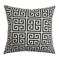 "The Pillow Collection - Paros Greek Key Pillow Black White 18"" x 18"" - This contemporary decor pillow brings a homey and relaxing vibe to your interiors. This throw pillow features a classic Greek key pattern in black and white. The pattern lends a visually enticing element to this square pillow. Place this accent pillow in your sofa, bed or scatter it anywhere inside your home. Made of 100% plush and soft cotton fabric, this 18"" pillow adds comfort and ensures long-lasting quality. Hidden zipper closure for easy cover removal.  Knife edge finish on all four sides.  Reversible pillow with the same fabric on the back side.  Spot cleaning suggested."