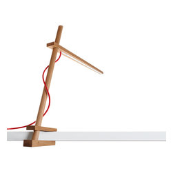 Pablo - Clamp Lamp, White Oak with Red Cord - Don't sacrifice style to stop squinting. This minimalistic lamp performs double duty as a functional light source and an extension of your good taste. Depending on your space, opt for the white wood finish with red cord or the walnut finish with black cord.