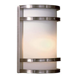 """Minka Lavery - Contemporary Bay View Stainless 9 1/2"""" Outdoor Light - From Minka comes this clean design mission style outdoor wall light. It features a brushed stainless steel finish with etched opal glass. The stainless steel construction makes it ideal for harsh weather conditions. Bring a stylish look to your entryway with this contemporary design. Stainless steel finish. Etched opal glass. Includes one 13 watt fluorescent bulb. 9 1/2"""" high. 7 1/4"""" wide. Extends 4"""".  Stainless steel finish.  Etched opal glass.  Includes one 13 watt fluorescent bulb.  9 1/2"""" high.  7 1/4"""" wide.  Extends 4"""".  California Title 24 Compliant.   ADA Compliant."""