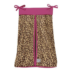 Trend Lab - Trend Lab Berry Leopard Crib Bedding Set - Diaper Stacker - Keep your diapers organized concealed and close at hand with the Berry Leopard Diaper Stacker by Trend Lab. Diaper stacker body features fashionable leopard printed velour in tan and deep mahogany. A berry pink top trim and ties complete this convenient storage option. Ties allow for easy attachment to most dressers and Changing tables. Measures 12 in x 8 in x 20.25 in and holds up to three dozen diapers. This diaper stacker coordinates with the Berry Leopard collection.