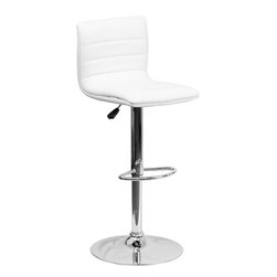Flash Furniture - Contemporary White Vinyl Adjustable Height Bar Stool with Chrome Base - This modern bar stool is upholstered in a durable vinyl upholstery and adjusts from counter to bar height. This armless design is gracefully contoured for your comfort. The height adjustable swivel seat adjusts from counter to bar height with the handle located below the seat. The chrome footrest supports your feet while also providing a contemporary chic design.