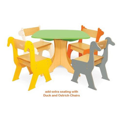 "P'kolino - Tree Table with Zebra & Giraffe Chairs - Duck and Ostrich Chairs The Pkolino Safari Collection is ideal for little ones ages 3 to 6 years. Colorful, animal silhouettes make for a playful yet sophisticated design. Suitable for playrooms and bedrooms. Features: -Age: 3 to 6 years old. -Includes two chairs. -Materials: Fiber Board with Wood Veneer. -Dimensions: 23"" H x 11"" W x 11"" L. .Seat Height- 11"" H.  Tree Table with Zebra and Giraffe Chairs The Pkolino Safari Collection is ideal for little ones ages 3 to 6 years. Colorful, animal silhouettes make for a playful yet sophisticated design. Suitable for playrooms and bedrooms. Create a play space where creativity can run wild! Features: -Designed to be playfully stylish and functionally smart. -Two chairs are included with the product, but you can always add more. . -Playfully designed. -Sturdy construction. -Easy to assemble. -Designed for active play and creativity. -Materials: Fiber Board with Wood Veneer. -Dimensions: Chair: 23 in. (58.4 cm) H x 11 in (28 cm) W x 11 in (28 cm) L. Seat Height: 11 in (28 cm). . -Table: 20.5 in. (52 cm) H x 28 in. (71.2 cm) W x 28 in. (71.2 cm) L.."