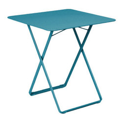 """Fermob - Fermob Plein Air Folding Table - 28"""" x 28"""" - This table is attractive, playful and practical, offering both softness and colour!"""