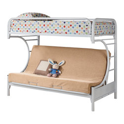 """Adarn Inc - Fordham C Style Metal Twin Over Full Futon Bunk Bed w/ Smooth Rounded Edges, Whi - This """"C"""" style twin over full futon bunk bed will make a fun and inviting addition to your child's bedroom. This piece features full length guard rails and welded braces for safety, while the top is a twin bed and below is a futon couch which can be converted into a full bed. The unique """"C"""" shape designs and smooth rounded edges contributes to a relaxed and comfortable style. Choose from blue, black, red, and white finishes to create the perfect look for your little one's room. The top bunk weight limit for this piece is 200 lbs."""