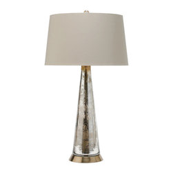 Arteriors Home - Camel Table Lamp - Camel tapered glass table lamp in a Silver and Gold iridescent finish with a round Brass base. Topped with Khaki shade with Brown leopard print lining. One 3-way 120 volt A19 incandescent lamp not included. ��27 inches high x 15 inch diameter. ��Shade is 13 inch diameter at top, 15 inch diameter at bottom x 9 inches high. UL listed.