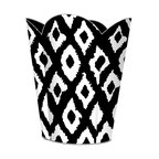 """Marye Kelley - Marye Kelley Black and White Ikat Decoupage Wastebasket with Optional Tissue Box - This is a handmade decoupage wastebasket with optional tissue box.  All items are handmade in the USA.  There are three different styles available.  There is the 12"""" Fluted Tin Design, the 11"""" Square Design with a flat top or the 11"""" Square design with a scalloped top.  Coordinating tissue boxes may also be made. Please note all items are custom made and may not be returned."""