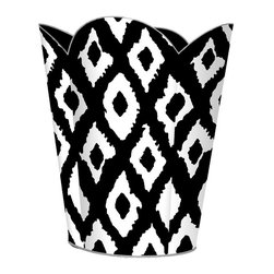 "Marye Kelley - Marye Kelley Black and White Ikat Decoupage Wastebasket with Optional Tissue Box - This is a handmade decoupage wastebasket with optional tissue box.  All items are handmade in the USA.  There are three different styles available.  There is the 12"" Fluted Tin Design, the 11"" Square Design with a flat top or the 11"" Square design with a scalloped top.  Coordinating tissue boxes may also be made. Please note all items are custom made and may not be returned."
