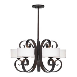 """Possini - Traditional Possini Curled Iron 28"""" Wide Chandelier - This curled iron chandelier is an eye-catching addition to any room in your home. Five fabric drum shades are held in place by iron curlicues in an elegant bronze finish. A stylish chandelier design with tremendous visual appeal. Bronze finish. Five white fabric shades. Includes five 40 watt G9 bulbs. 17"""" high. 28"""" wide. Includes two 12"""" and one 18"""" bronze rod. Canopy is 6"""" wide. Hang weight is 28 pounds.  5 light chandelier.  From the Gianni Possini collection of lighting.  Bronze finish.  White fabric shades.  Includes five 40 watt G9 bulbs.  17"""" high.  28"""" wide.  Includes two 12"""" and one 18"""" bronze rod.   Canopy is 6"""" wide.   Hang weight is 28 pounds."""