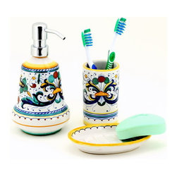 Artistica - Hand Made in Italy - Ricco Deruta: Bathroom Set - Soap Dispenser, Soap Dish, Tumbler - Ricco Deruta: Artistica's Ricco Deruta is the true original version of the most celebrated Deruta's design, which traces its origins to the sixteenth century.