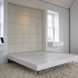 VERO Platform Bed - Low and lean as if quietly hovering, the VERO Platform bed stands on the iconic acrylic X base found throughout the Jacobsen Collection.  Solid wood platform construction.  Available as twin, queen and king sizes. Custom sizes and colors.