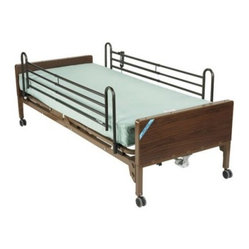 Drive Medical Delta Semi Electric Bed with Rails and Mattress