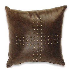 "Canaan - Prairie Leather Black Color 15"" x 15"" Throw Pillow - Prairie leather black color 15"" x 15"" throw pillow with antique studs. Measures 15"" x 15"" made with a blown in foam. These are custom made in the U.S.A and take 4-6 weeks lead time for production."