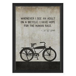 The Artwork Factory - Bicycle HG Wells Framed Artwork - Ready-to-Hang, 100% Made in the USA, museum quality framed artwork