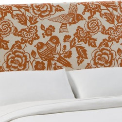 Skyline Furniture Lakeview Slipcover Headboard, Tangerine Canary Fabric - I love the canaries and floral theme here.
