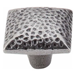 Top Knobs - Top Knobs: Square Iron Knob Dimpled 1 3/8 Inch - Cast Iron - Top Knobs: Square Iron Knob Dimpled 1 3/8 Inch - Cast Iron