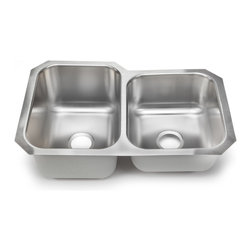 Hahn - Hahn American 60/40 Double Bowl - he Hahn American 60/40 Double Bowl gives a classic and timeless design element to any kitchen. You will love the durability of premium 18 gauge stainless steel.