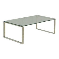 sohoConcept - Calvin Coffee Table - The sleek, ultra-clean lines on the Calvin Coffee Table by sohoConcept are so perfect, that you would be wholly justified in immediately banishing anyone who dared leave a water ring on the modern, sophisticated table from your living room for as long as you deemed fit. Strict in its design, but not its versatility, this modern coffee table is available with either a tempered glass top or a wenge oak one. The two polished, metal frames give this sophisticated table, regardless of top choice, a bold, modern look.
