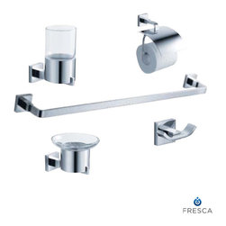 Fresca - Fresca Glorioso 5-Piece Bathroom Accessory Set - Chrome - All of our Fresca bathroom accessories are made with brass with a triple chrome finish and have been chosen to compliment our other line of products including our vanities, faucets, shower panels and toilets. They are imported and selected for their modern, cutting edge designs.