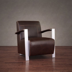555 - Newark Industrial Vintage Tobacco Leather Chair - Bring comfort and style to any setting with this handsome Newark arm chair. Featuring comfortable and durable fire retardant foam cushioning,solid wood construction and brushed aluminum arms,this chair is covered in rich tobacco leather.
