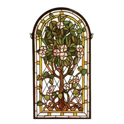 Meyda Tiffany - Meyda Tiffany 99049 Arched Tree Of Life Window - This stylized version of Louis Comfort Tiffany's famous Tree of Life is a Meyda Original design. A Bark Brown tree with Plum Pink flowers and Summer Green leaves adorn a Clear Blue arched window. The window is handcrafted utilizing the copperfoil construction process and 416 pieces of stained art glass encased in a solid brass frame. Mounting bracket and chain are included.