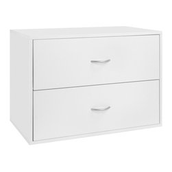 freedomRail - Organized Living freedomRail White 'Big O-Box' 2-Drawer Modular Cabinet - The large white 'Big-O-Box' modular drawer cabinet features two drawers to create additional storage space within your home. The cabinet easily mounts to an upright within your storage space to conveniently tuck your items out of sight.