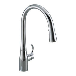 "Kohler - Kohler K-596-CP Polished Chrome Simplice Simplice Pullout Spray - Product Features:  Fully covered under Kohler s limited lifetime warranty All-metal faucet body and handle construction Superior finishing process - faucet finish covered under lifetime warranty Includes cover plate (escutcheon) for sinks with 3-holes (8"" centers) Insulated pullout spray faucet head and retractable hose Transitional styling provides sleek, fluid lines that coordinate with a wide range of kitchen styles Simple design makes maintenance and cleaning easy Spout swivels 360 degrees to allow for unobstructed sink access High-arch gooseneck spout further allows for unobstructed sink access  Product Specifications:  Overall Height: 16-5/8"" (measured from counter top to highest point of faucet) Spout Height: 9-5/8"" (measured from counter top to faucet outlet) Spout Reach: 9"" (measured from center of faucet base to center of faucet outlet) Number of installation holes required: 1 2.2 gallons-per-minute flow rate Maximum Deck Thickness: 2-1/2"" 1 handle included ADA compliant Low lead compliant - complies with federal and state regulations for lead content Designed to easily connect to standard U.S. plumbing supply bibs Secure mounting assembly All necessary mounting hardware included  Variations:  K-596: This model K-597: Bar (smaller) version of this model  About Kohler: Gracious living is characterized by qualities of charm, good taste, generosity of spirit and the enhancement of nature. It is Kohler's mission that you can improve your sense of gracious living with every experience you have with a Kohler product or service. With everything that Kohler"