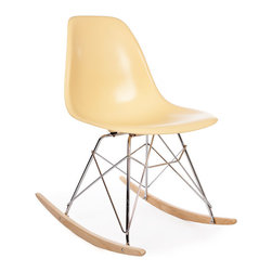 Vertigo Interiors - High Quality Eames Style RSR Rocking Side Chair, Cream - The Eames Style RSR Rocking Side Chair has the iconic Eames style eiffel base paired with treated beech wood runners. Constructed of high quality polypropylene, the chair is durable, non-toxic and easy to clean. This chair is exceptionally comfortable and is perfect for nurseries and dining rooms alike.