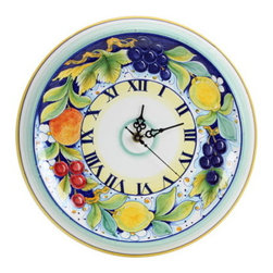 Artistica - Hand Made in Italy - DERUTA FRUTTA: Round Wall Clock - Dec. Frutta - DERUTA FRUTTA Collection: Masterfully hand painted in Deruta Italy this collection features one of the most painstakingly painted fruits and leaves pattern exclusively made for Artistica by a small artisan shop located in the renown Via Tiberina that cross through Deruta.