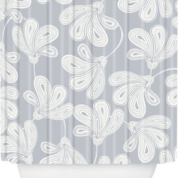 DENY Designs - DENY Designs Khristian A Howell Provencal Gray 1 Shower Curtain - Thrown for a Loop. Bath time starting to feel a little blah? Give your tub or shower some pop with the Khristian A Howell Provencal Gray 1 Shower Curtain from DENY Designs. Made from machine-washable polyester, this shower curtain features a gray background with loopy white flowers. Add it to your home for some easy elegance, or use it to infuse your bathroom with charming, whimsical style. Scrub a dub dub!Artist: Khristian A HowellA portion of proceeds go directly to the artistsButtonhole openings; shower rings are not includedMade in the USA