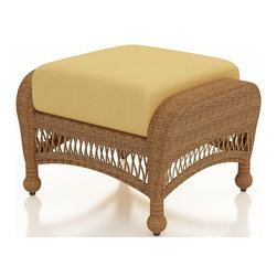 Forever Patio - Catalina Patio Wicker Ottoman, Straw Wicker, Wheat Cushions - The Forever Patio Catalina Outdoor Patio Ottoman in Straw Wicker with Gold Sunbrella® Cushions (SKU FP-CAT-OT-ST-CW) is the perfect companion for any of the Catalina Collection, either as a comfortable footrest or extra seat. The UV-protected, straw-colored wicker incorporates subtle shifts in tones, providing a look that is complex and beautiful. This ottoman includes a fade- and mildew-resistant Sunbrella® cushion.