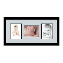 ArtToFrames - ArtToFrames Collage Photo Frame  with 3 - 6x8 Openings - This modern Satin Black, 1.25 inch wide collage frame, presents a multiple opening display for 3 - 6x8 masterpieces of your choice. This collage is part of an extensive collage frame selection and boasts a sweeping line of premium quality frames at a price you can be happy about! Handmade and designed to outfit your masterpieces making sure you 3 - 6x8 art will fit exactly so. Bordered in a bold Satin Black, high-end frame and joined by a clean Baby Blue mat, the collage arrangement certainly shows off your original prized artwork, and good-time memories in an entirely special and creative way. This collage frame comes protected in Styrene, available with proper hardware and can be hung up within a few seconds. These premium quality and rustic wood-based collage frames change in tone and dimension; all in contemporary and modern design. Mats are available in a myriad of color tones, spaces, and shapes. It's time to tell your story! Preserving your memories in an original and brilliant brand-new way has never been easier.