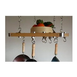Taylor and Ng - Track European Ceiling Pot Rack - Optional eight hanging links. Hanging. Rectangular shape. Natural finish. Distance from ceiling: 22 in.. Hanging link: 1.13 in. L x 0.19 in. W x 3 in. H (0.38 lbs.). Overall: 23.50 in. L x 20.38 in. W x 1.50 in. H (12.40 lbs.). Includes mounting hardware, instructions booklet, eight pan hooks, thirty two 3 in. hanging links, eight wood bars, four eye hooks, one center grid storage shelf, four ceiling mounting and swivel hooks. Assembly required. Made in Taiwan. Hang upto twelve pots. Center grid storage shelf with four J clips and L connectors. Eye hooks mounts directly to ceiling wood joistThis European ceiling mounted pot rack is a compact version of their Rectangular ceiling rack designed specifically to address smaller apartment-sized living spaces. Store additional items on top of the storage grid. Use the Hanging Links to adjust height of the preassembled ceiling potrack.
