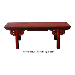 Chinese Oriental Red Lacquer Long Wood Bench - This is an oriental long wood bench with rustic rough wood painted with modern distressed red lacquer color.