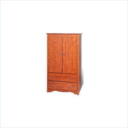 """Prepac - Prepac Monterey Cherry TV/Wardrobe Armoire - Prepac - Armoires - CDC3359K - The versatile Monterey Cherry TV/Wardrobe Armoire features two full sized drawers as well as a cabinet with both a hanging rod and an adjustable shelf conveniently hidden behind double doors. It may be used as a wardrobe storage cabinet or entertainment center capable of holding most 24"""" TVs."""