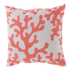 """Surya - Coral Square Decorative Pillow RG-038 - 20"""" x 20"""" - Enjoy a tranquil reminder of the beach in your space with this cool coral pillow. Featuring a coral colored coral design splashed pristinely against a quaint cream backdrop, this piece is sure to spice up your space. This pillow contains a Virgin Poly Styrene Bead fill providing a reliable and affordable solution to updating your indoor or outdoor decor."""