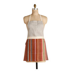 Birdkage - Dune Mini Combo Bib Apron - So chic, why confine it to the kitchen? Colorful stripes are paired with demure oatmeal linen in a pleasing A-line cut that runs a little shorter in length, but is roomy around the sides, for a flattering fit every time. The front pockets are accented with blue jean rivets, and the apron comes in a reusable cotton drawstring bag.