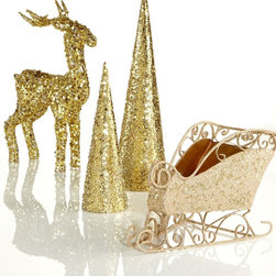 Holiday Lane Christmas Decorations, Gold Collection - This collection of gold accessories is a quick way to add some cheer to your bookcases.