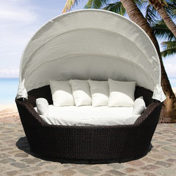 Outdoor Furniture - Outdoor wicker canopy daybed, covered loveseat patio furniture - Sylt by Beliani