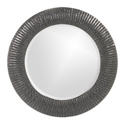 Howard Elliott - Howard Elliott 21143CH Bergman Charcoal Gray Small Round Mirror - This round, resin mirror is painted in a glossy charcoal gray giving the piece textured, starburst effect. Mirror (1)