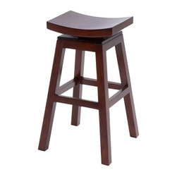 "Benzara - Wooden 30"" Barstool with Solid Wooden Legs in Dark Finish - Wooden 30"" Barstool with Solid Wooden Legs in Dark Finish. Crafted in beautiful mahogany wood, this bar stool comes with a saddle seat and four legs with a supportive step to help you mount easily. It comes in the following dimensions 18''W x 18""D x 30""H. 16''W x 11""top. Some assembly may be required."