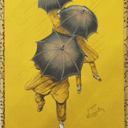Consigned 1929 Original French Art Deco Carton, Parapluie-Revel Ad - A wonderful small carton advertisement for Parapluie-Revel, the French umbrellas brand made famous by Cappiello's design. This image was printed as a poster, cardstock point-of-sale advertisment piece and tins, such as this one which would have hung in a shop window or over the product display. Original string is still attached.
