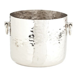 """Arteriors - Grace Container - This ring-handled bucket will keep your wine on ice beautifully — but you're bound to find other uses for it. Made of hammered steel with a polished nickel finish, it's one cool """"catch-all"""" container."""