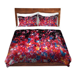DiaNoche Designs - Duvet Cover Microfiber by Julia Di Sano - Starlight Nebula - DiaNoche Designs works with artists from around the world to bring unique, artistic products to decorate all aspects of your home.  Super lightweight and extremely soft Premium Microfiber Duvet Cover (only) in sizes Twin, Queen, King.  Shams NOT included.  This duvet is designed to wash upon arrival for maximum softness.   Each duvet starts by looming the fabric and cutting to the size ordered.  The Image is printed and your Duvet Cover is meticulously sewn together with ties in each corner and a hidden zip closure.  All in the USA!!  Poly microfiber top and underside.  Dye Sublimation printing permanently adheres the ink to the material for long life and durability.  Machine Washable cold with light detergent and dry on low.  Product may vary slightly from image.  Shams not included.