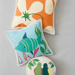 Hable - Hable Parakeets Canvas Pillow Cover - Make a splash with these delightful beachcombing-themed prints on the front of our cotton canvas pillow covers. Twill-tape binding or canvas piping. Zipper closure. By Hable Construction for Garnet Hill.