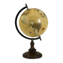 Imax Worldwide Home - Windsor Globe - Mustard Yellow Windsor Globe on Mango Wood stand. Desk Accessories. 14.5 in. H x 8 in. D. 55% Mango Wood, 25% Plastic, 15% Iron, 5% Paper
