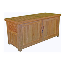 Thos. Baker - garden storage chest - Solve all your storage needs with one of our many storage solutions. Cushions, toys, garden tools and supplies, trash and recyclables, all out of site. Water tight lid is sealed with silicone to keep your items safe from the elements, while vented sides allow for air flow to avoid trapping moisture inside. ��This item comes in��teak.��This item size is��27x62x29.